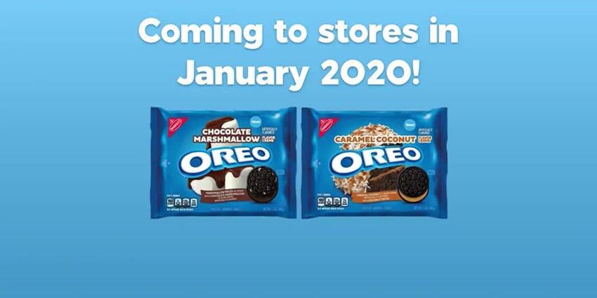 Bộ đôi sản phẩm bánh quy caramel dừa và socola marshmallow của Oreo